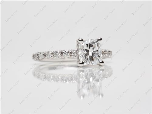 White Gold 1.01 Cushion cut Pave Ring Setting