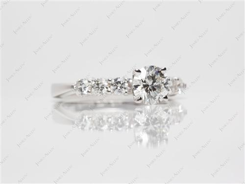 White Gold 0.71 Round cut Side Stone Engagement Rings