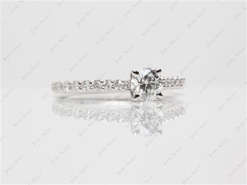 White Gold 0.39 Round cut Diamond Rings With Side Stones