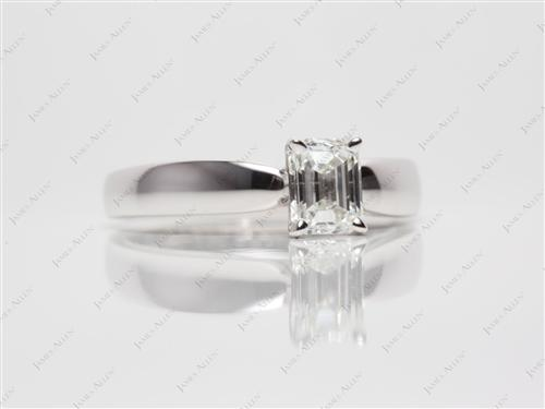 White Gold 0.93 Emerald cut Diamond Solitaire Engagement Ring