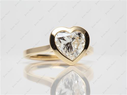 Gold 1.91 Heart shaped Solitaire Engagement Ring