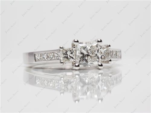 White Gold 1.01 Princess cut Diamond Rings With Side Stones
