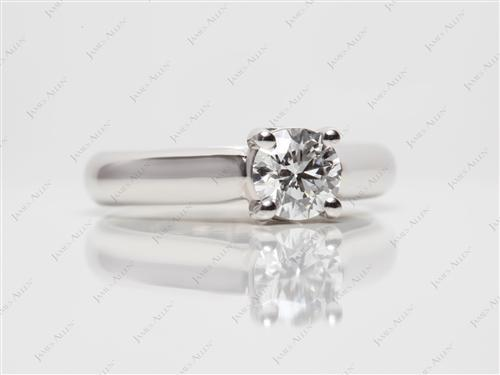 Platinum 0.61 Round cut Solitaire Diamond Ring