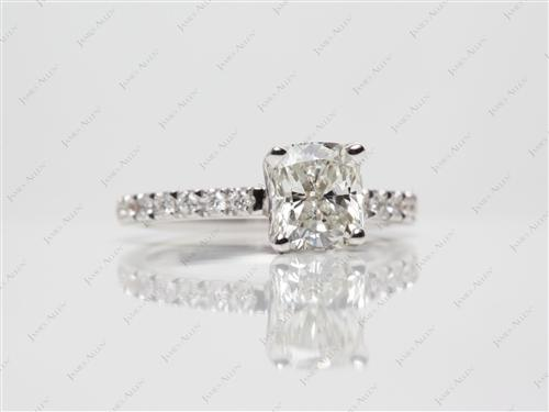 White Gold 1.51 Cushion cut Pave Diamond Engagement Ring