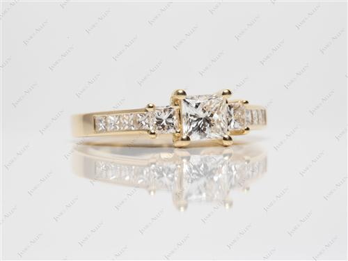 Gold 0.71 Princess cut Diamond Rings
