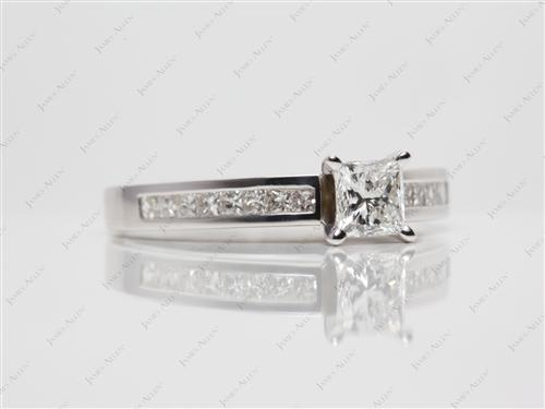 White Gold 0.73 Princess cut Channel Setting Ring