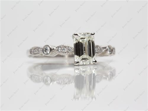 Platinum 1.19 Emerald cut Diamond Ring With Sidestones