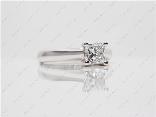 White Gold 0.70 Princess cut Solitaire Ring Settings