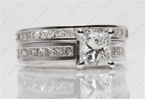 Platinum 1.07 Princess cut Wedding Sets Jewelry