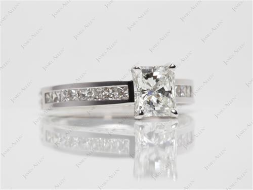 White Gold 1.11 Radiant cut Channel Set Rings