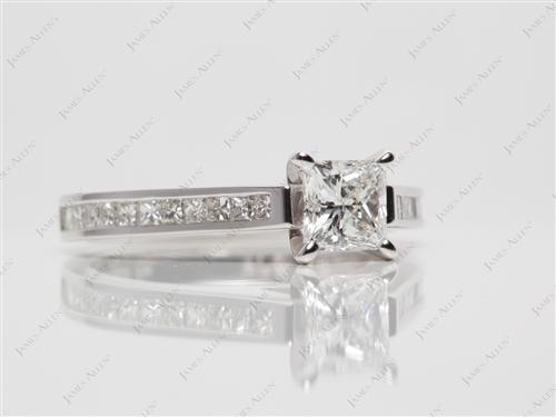 White Gold 0.71 Princess cut Channel Set Diamond Ring
