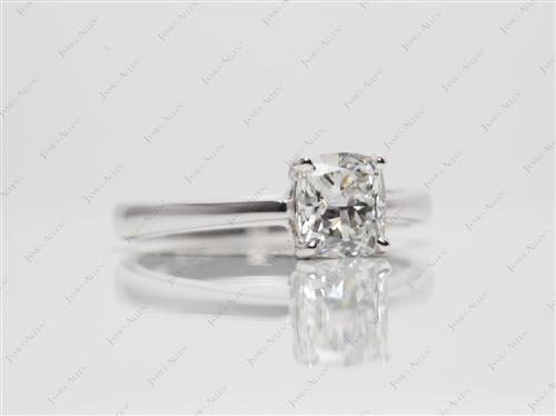 White Gold 1.02 Cushion cut Diamond Rings