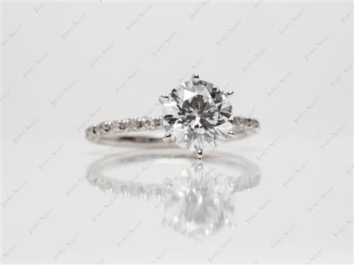 Platinum 1.68 Round cut Pave Ring Mountings