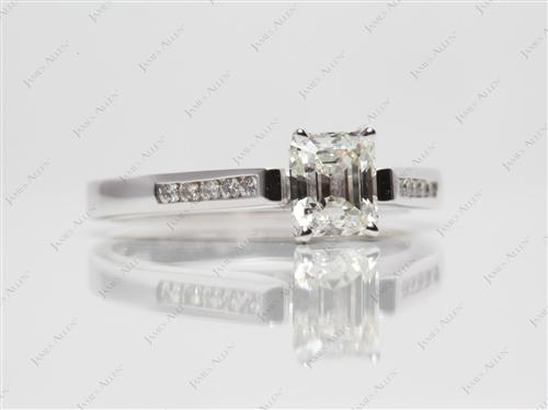 White Gold 0.90 Emerald cut Channel Setting Engagement Rings