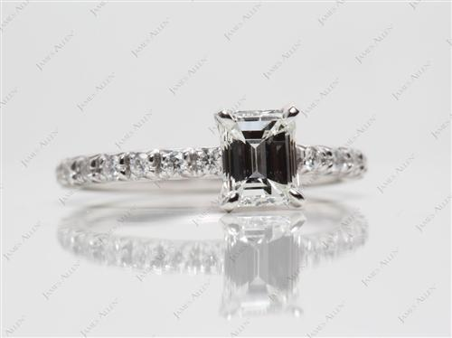 Platinum 0.91 Emerald cut Micro Pave Engagement Rings