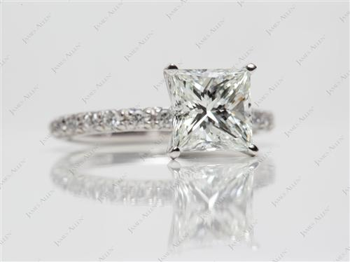 Platinum 1.92 Princess cut Diamond Pave Rings