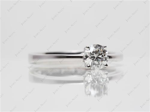 White Gold 0.56 Round cut Diamond Solitaire Ring Settings