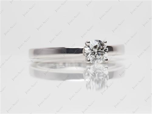 White Gold 0.51 Round cut Diamond Solitaire Ring Settings