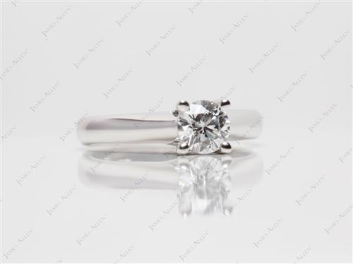 White Gold 0.48 Round cut Solitaire Ring Mountings