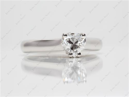 Platinum 0.90 Heart shaped Diamond Solitaire Engagement Ring