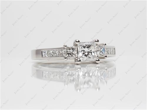 Platinum 0.64 Princess cut Engagement Rings With Sidestones
