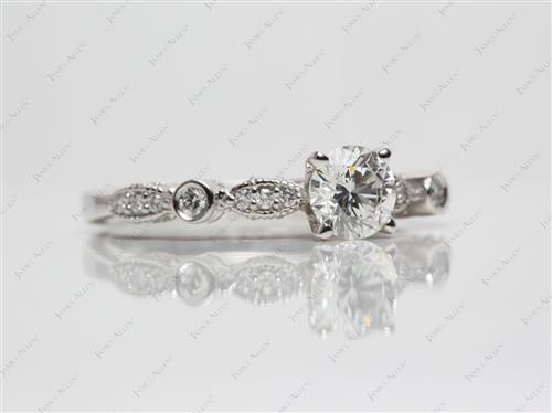 Platinum 0.61 Round cut Engagement Ring With Side Stones