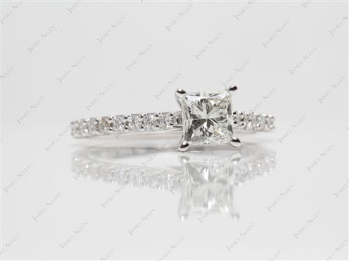 White Gold 0.75 Princess cut Engagement Ring With Sidestones