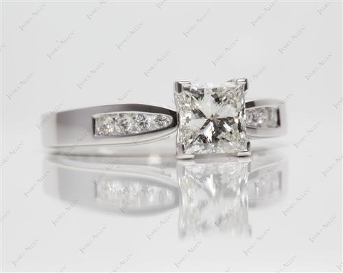 White Gold 1.02 Princess cut Channel Set Engagement Rings