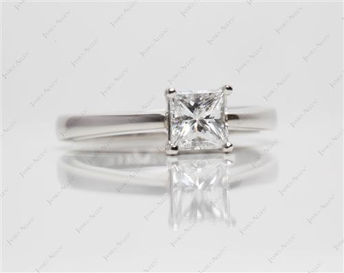 Platinum 0.66 Princess cut Diamond Engagement Solitaire Rings