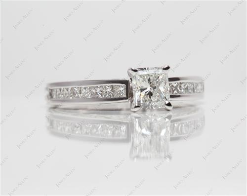 White Gold 0.83 Radiant cut Channel Set Rings