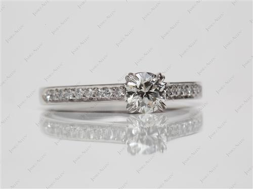 Platinum 0.41 Round cut Pave Ring Setting