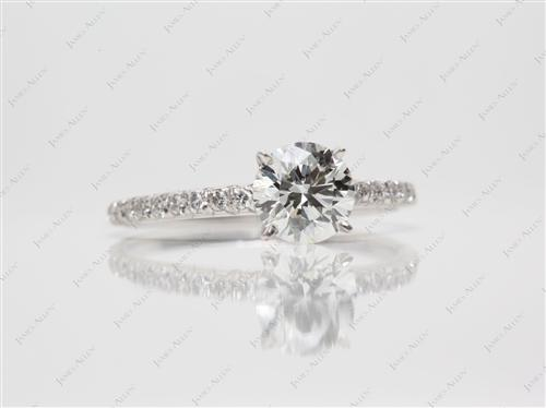 White Gold 1.06 Round cut Pave Diamond Rings