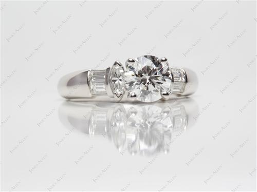 Platinum 1.26 Round cut Diamond Rings