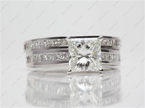 Platinum 1.91 Princess cut Diamond Wedding Sets