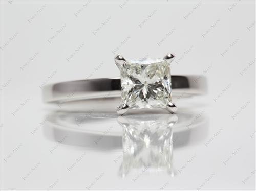 Platinum 1.25 Princess cut Diamond Solitaire Rings