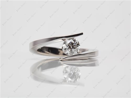 White Gold 0.51 Round cut Solitaire Ring Setting