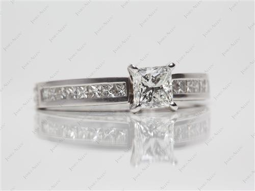 White Gold 0.70 Princess cut Channel Set Engagement Rings