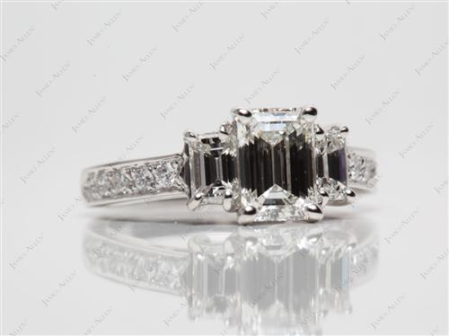 Platinum 1.00 Emerald cut Engagement Ring Side Stones