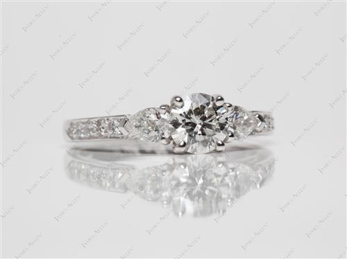 White Gold 0.72 Round cut Side Stone Engagement Ring