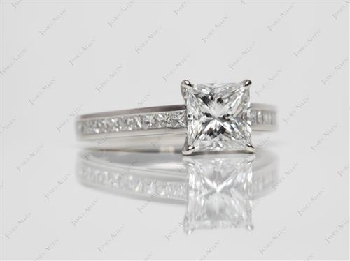 Platinum 1.52 Princess cut Channel Ring