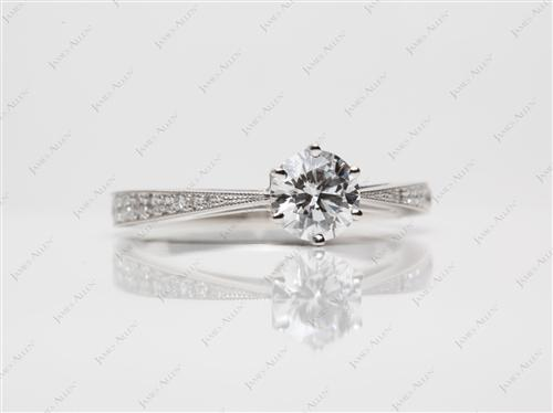 Platinum 0.75 Round cut Pave Diamond Ring