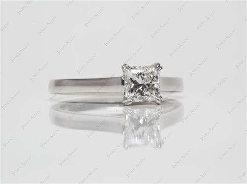 Platinum 0.70 Princess cut Solitaire Engagement Rings