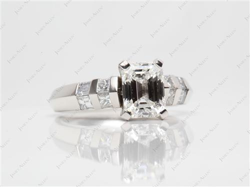 Platinum 2.01 Emerald cut Side Stone Engagement Rings