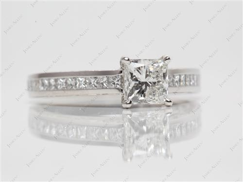 Platinum 0.90 Princess cut Channel Engagement Ring