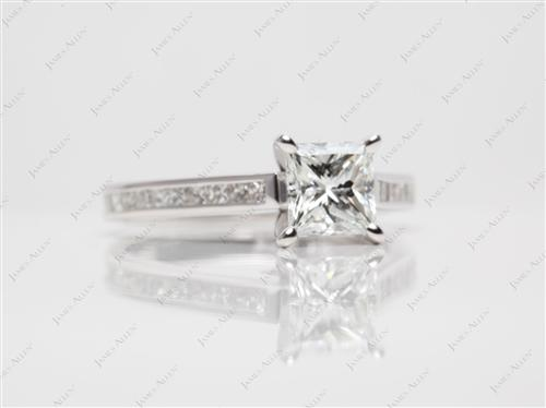 White Gold 1.12 Princess cut Channel Ring