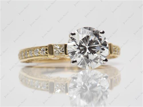 Gold 2.09 Round cut Pave Setting Rings