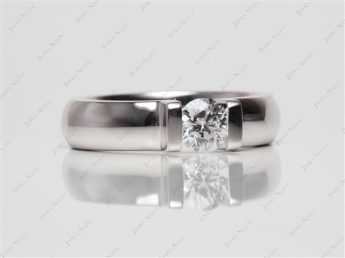 White Gold 0.51 Round cut Tension Setting Engagement Rings