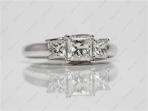 White Gold 0.61 Princess cut Three Stones Diamond Rings