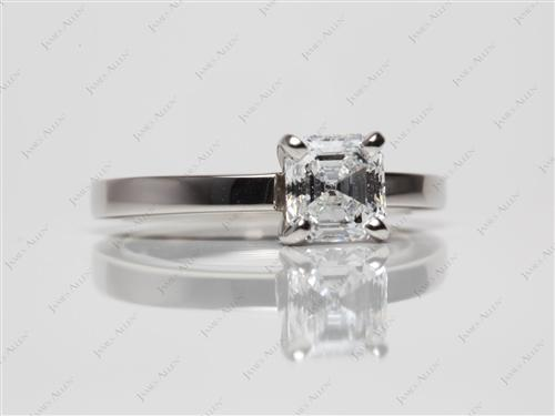 Platinum 1.13 Asscher cut Round Solitaire Ring