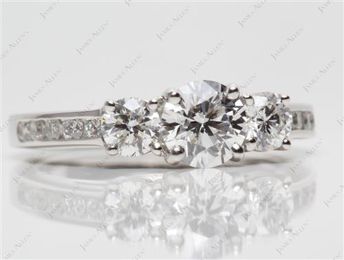 Platinum 0.75 Round cut Three Stones Ring